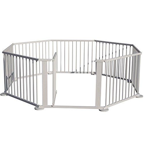 jalano xxl baby laufgitter wei lasiert absperrgitter flexibler laufstall 8 eck anukas. Black Bedroom Furniture Sets. Home Design Ideas